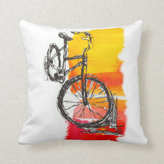 Colorful  Red Bike Drawing Cushion