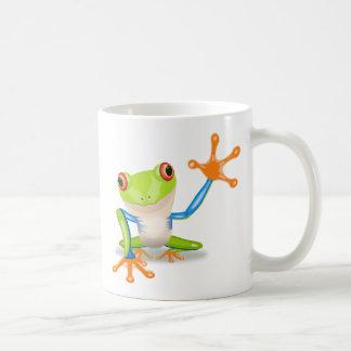 Colorful Red-Eyed Tree Frog Reaching Out Basic White Mug