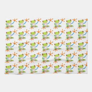 Colorful Red-Eyed Tree Frog Reaching Out Tea Towel