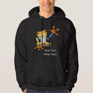 Colorful Red Eyed Tree Frog w/ Your Custom Text Hoodie
