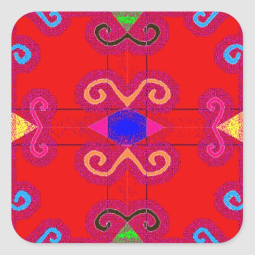 Colorful Red Geometric Mexican Style Envelope Seal Square Sticker