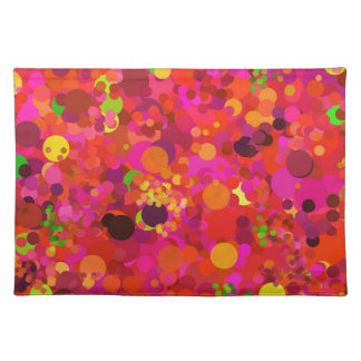 Colorful Red Green Gold & Pink Dots Pattern Placemats
