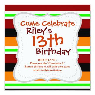 Colorful Red Orange Green Black Striped Pattern 13 Cm X 13 Cm Square Invitation Card