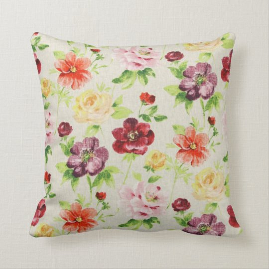 Colorful Red Purple Yellow Pink Anemone Pillow