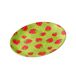 Colorful red strawberry pattern plate