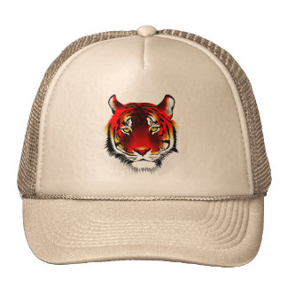 Colorful Red Tiger With Yellow Eyes Drawing Cap