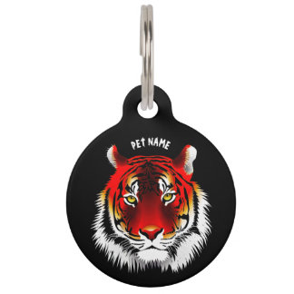 Colorful Red Tiger With Yellow Eyes Drawing Pet Tag