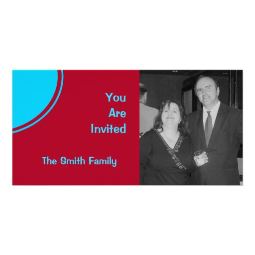 Colorful Red Turquoise Retro Party Invite Photo Card Template