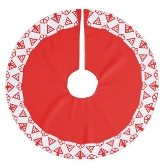 Colorful Red White Pattern 4Carolyn Brushed Polyester Tree Skirt