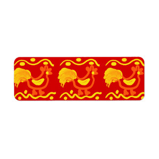 Colorful Red Yellow Orange Rooster Chicken Design Return Address Label