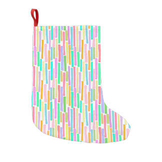 Colorful repeating pattern in summer colors fun small christmas stocking