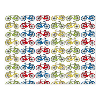Colorful Retro Bicycles Postcard