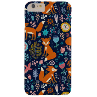 Colorful Retro Birds Foxes & Flowers Pattern Barely There iPhone 6 Plus Case