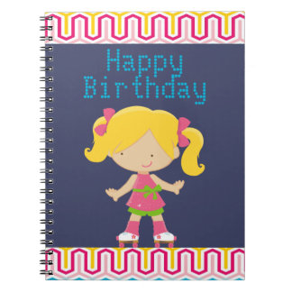 Colorful Retro Blonde Roller Skating Birthday Notebooks