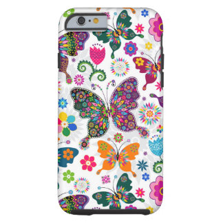 Colorful Retro Butterflies And Flowers Pattern Tough iPhone 6 Case