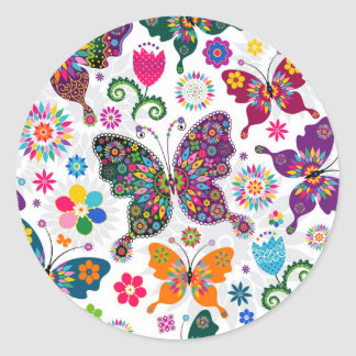 Colorful Retro Butterflies And Flowers Pattern Classic Round Sticker