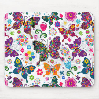 Colorful Retro Butterflies And Flowers Pattern Mousepad