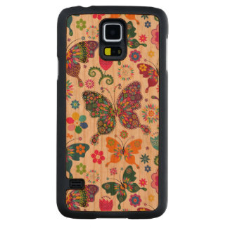 Colorful Retro Butterflies & Flowers Carved Cherry Galaxy S5 Case