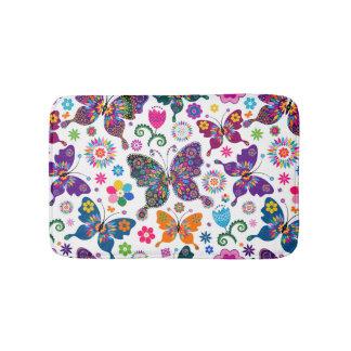 Colorful Retro Butterflies & Flowers Pattern Bath Mat
