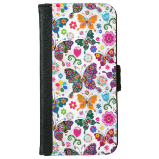 Colorful Retro Butterflies & Flowers Pattern iPhone 6 Wallet Case
