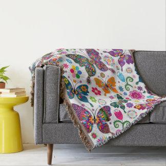 Colorful Retro Butterflies & Flowers Pattern Throw Blanket