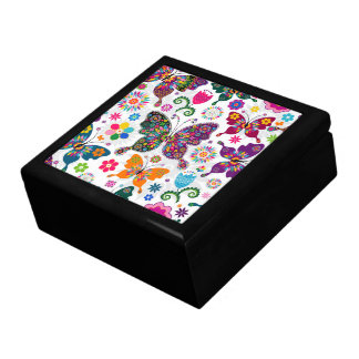 Colorful Retro Butterflies Illustration Large Square Gift Box