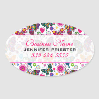 Colorful Retro Butterfly's And Flowers Pattern 2 Oval Sticker
