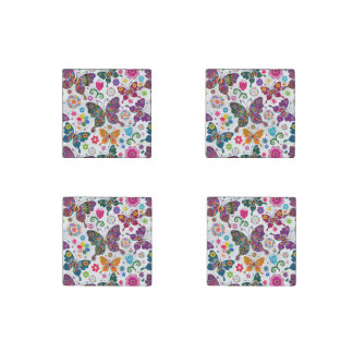 Colorful Retro Butterfly's And Flowers Pattern Stone Magnet