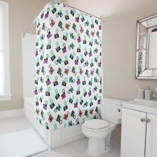 Colorful Retro Camera Shower Curtain