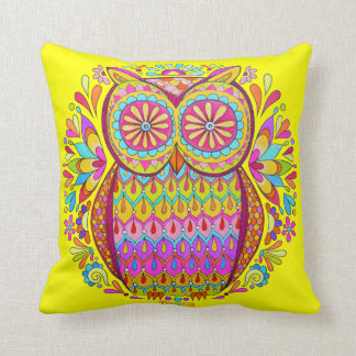 Colorful Retro Cute Owl Pillow - Psychedelic Color