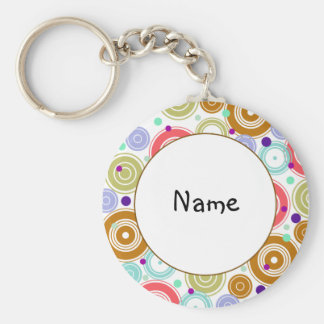 Colorful retro design basic round button key ring