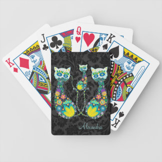 Colorful Retro Floral Cat-Custom Text Bicycle Playing Cards