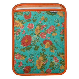 Colorful Retro Floral Collage Pattern Sleeves For iPads