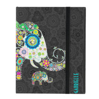 Colorful Retro Floral Cute Elephant Covers For iPad