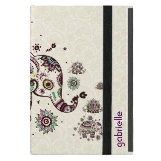 Colorful Retro Floral & Elephant Beige Back iPad Mini Cases