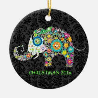 Colorful Retro Floral Elephant Illustration Christmas Ornament