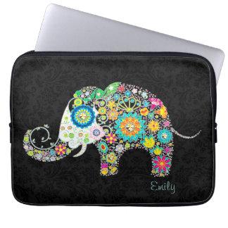 Colorful Retro Floral Elephant Laptop Computer Sleeve