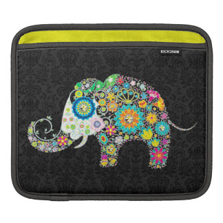 Colorful Retro Floral Elephant Over Black Damasks Sleeves For iPads