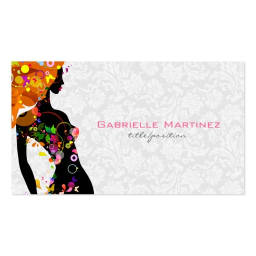 Colorful Retro Floral Girl & White Floral Damask Business Card Templates