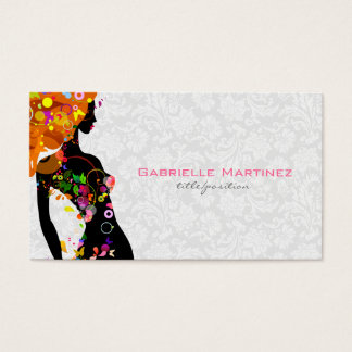 Colorful Retro Floral Girl & White Floral Damask Business Card