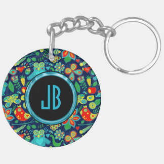 Colorful Retro Floral Owls Pattern Double-Sided Round Acrylic Key Ring