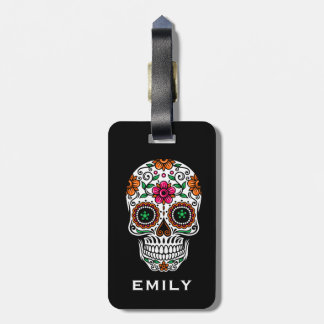 Colorful Retro Floral Sugar Skull 2 Luggage Tag