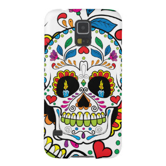 Colorful Retro Floral Sugar Skull Burning Candles Galaxy S5 Cover