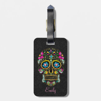 Colorful Retro Floral Sugar Skull Luggage Tag