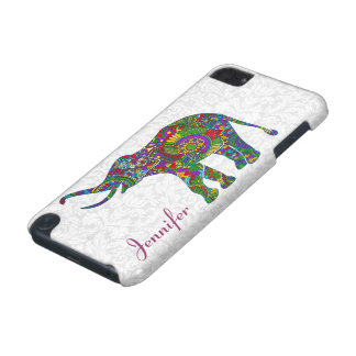 Colorful Retro Flower Elephant 2 White Damasks iPod Touch (5th Generation) Case