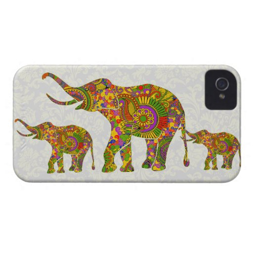 Colorful Retro Flower Elephant 4 Design iPhone 4 Covers