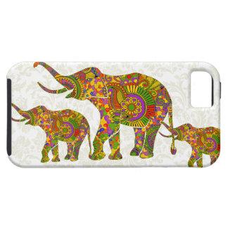 Colorful Retro Flower Elephant 4 Design iPhone 5 Cases