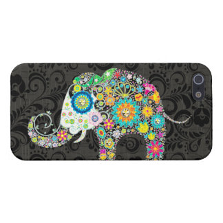 Colorful Retro Flower Elephant Design 4 Cover For iPhone 5/5S