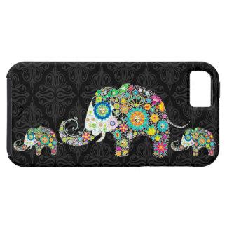 Colorful Retro Flower Elephant Family iPhone 5 Case