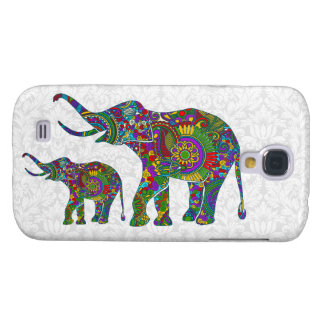 Colorful Retro Flower Elephant White Damasks Galaxy S4 Case